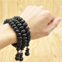 10-15mm Buddhist male om mani padme hum bracelet wood Prayer Beads Men women