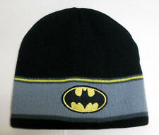 NEW DC COMICS BATMAN logo grey-black-yellow KNITTED BEANIE hat