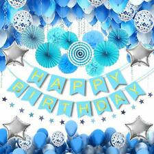 56pcs Boy Bunting Banner Tissue Paper Pompom Balls Happy Birthday DIY Decor