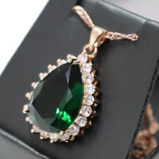 Gorgeous 5 Ct Pear Cut Green Emerald CZ Halo Pendant Necklace 14K Gold Plated