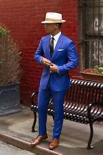 Hombre Azul Trajes Elegante un Botón Diseñador Novios Boda Cena Abrigo +