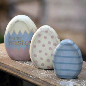 Easter Egg Shelf Sitters Set of 3 Rustic Wood Primitive Spring Decor 3.75 inches