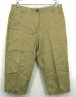 Kim Rogers Women's Brown Khaki Stretch Waist Capri Career Trouser Pants Size 18
