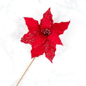 Sparkling Red Velvet Poinsettia Stems   3 Stems   for Indoor Decor