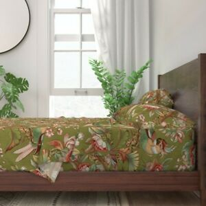 Parrot Tropical Floral Bird Botanical 100% Cotton Sateen Sheet Set by Roostery
