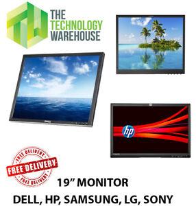 "19"" Flat LCD Monitor VGA Screen (Various Brands) Dell HP Samsung Sony No Stand"