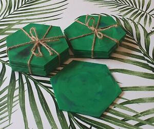 100% Recycled Plastic Hexagon Coasters - 6 Pack. Brand New
