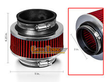 """3"""" Inlet 76mm Cold Air Intake Universal Bypass Valve Filter RED For Chevrolet"""