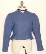 """BLUE COTTON & LINEN JACKET Women Austria SUMMER Fitted PEPLUM Dress 4 6 S B36"""""""