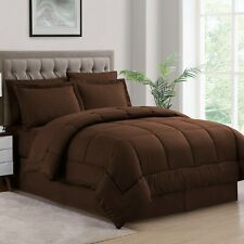 Sweet Home Collection 8 Piece Brown Dobby Stripe Bed In A Bag Queen New