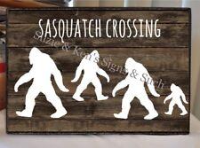Vintage Wooden Sign Sasquatch Crossing Bog Foot Yeti Man Cave Sign Rustic