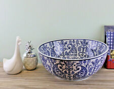 Large Ceramic Fruit Bowl Vintage Blue White Paisley Home Decor Storage Ornament