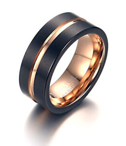 MATTE BLACK TUNGSTEN CARBIDE RING WITH ROSE GOLD WEDDING ENGAGEMENT ETERNITY