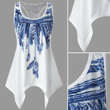 Womens Summer Lace Print Tank Tops Vest Blouse Casual Loose T-Shirt Sports Vests