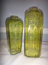2 Antique Vaseline Glass Pig Snout Top Gin Bottle A Van Hoboken & Co Rotterdam