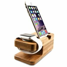 Bamboo Wood Charging Station Charger Dock Stand Holder Apple Watch iPhone New