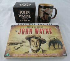 "John Wayne 12 oz Ceramic Mug ""Whoa,Take'er Easy There Pilgrim!"" Vandor & DVD Set"