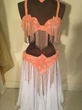 Coral and silver professional belly dance bra, belt and necklace- Stunning!