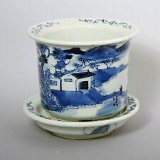 Antique Chinese Blue &  White Landscape Scene Planter/ Flower Pot w/ under Tray