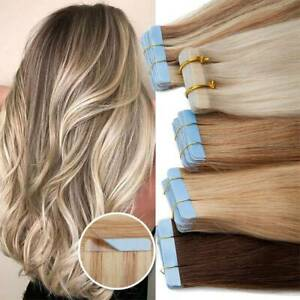 Invisible Tape In Real Remy Human Hair Extensions Skin Weft Full Thick 150G JQ01