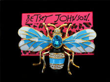 Betsey Johnson Bling Blue Crystal Enamel Honeybee Bee Charm Women's Brooch Pin