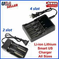 Li-ion Lithium Smart Charger 2 4  Slot for 16340/18650/14500/26650 3.7V RCR123
