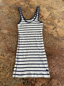 Kids Age 12-13 White And Navy Blue Stripped Abercrombie & Fitch Vest Top