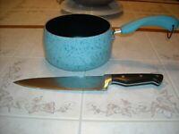 Paula Deen 2 QT Pot Blue Speckle & Paula Deen Knife