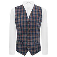 Traditional Navy Blue Tartan Check Waistcoat, Plaid, Scottish