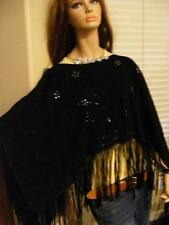 KOBLER Womens Suede Leather FRINGE CAPE Wrap SHAWL JACKET Western Elegance