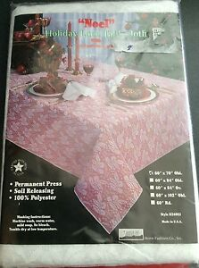 """Vtg NEW 60""""X70"""" oblong Holiday Lace Tablecloth NOEL Polyester Made USA Sante Fe"""