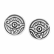 Chrysalis Charmed Rhodium-Flashed Brass Eye of Horus Stud Earrings