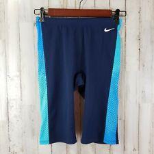 Nike Youth Swim Shorts M Black Blue Side Panels Lined Front Drawstring Waist