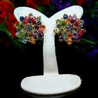 NATURAL FANCY COLOR SAPPHIRE AMETHYST RUBY EMERALD EARRINGS 925 STERLING SILVER