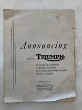 1940s Announcing TRIUMPH MOTORCYCLE Vintage ADVERTISING Motor Cycling British