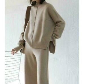 Cashmere Wool Knitted Casual Lady Sweater Pullover Wide Leg Pants 2Pcs Stretchy