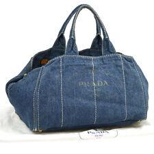 Authentic PRADA Logos Canapa Hand Tote Bag Purse Blue Gold Denim Vintage A31301