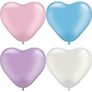 "Qualatex Latex Balloons 6"" Assorted Pearl Latex Heart Balloons 100pk"