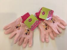 Disney Minnie Mouse Garden Jersey Gloves 2 Pack Ribbed Cuffs Pink Ages 3+ (New)