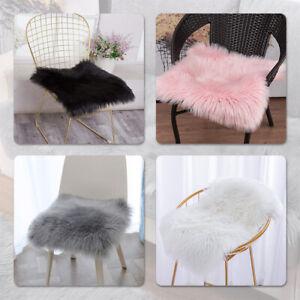 Soft White Faux Fur Sheepskin Seat Cushion Chair Cover Plush Area Rugs for Sofa