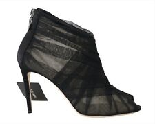 NEW $980 DOLCE & GABBANA Shoes Black Open Toes Booties Stilettos s. EU40 / US9.5