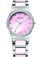 Bering Womens 32435-999 Ceramic Pink Dial Silver Stainless Steel Band SS Watch