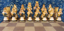 ANNI' 50-SCACCHI RUSSI-OLD RUSSIAN CHESS SET-HAND CARVED WOODEN KING 11,3 cm