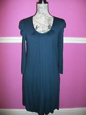 PHASE EIGHT STRETCH TUNIC DRESS TOP  SCOOP NECK  8  BLUE 3/4 SLEEVES