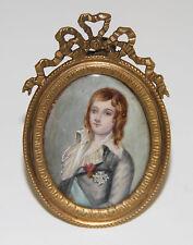 PORTRAIT DE GARÇON EN MINIATURE. HUILE. CADRE EN BRONZE. FRANCE. XVIII-XIXe S.