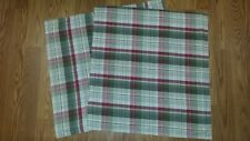 "2 Pottery Barn KIRKWOOD PLAID Pillow Covers 24"" RED GREEN FARMHOUSE CHRISTMAS"