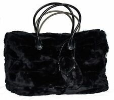 Suzanne Sommers Black Faux Fur Weekender Travel Bag Tote w/ Mini Pouch Bag NWOT