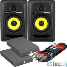2x KRK ROKIT 5 RP5G3 RP5 G3 Pair with FREE Cables + Isolation Pads