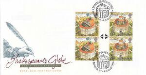 (67223) GB FDC GUTTER PAIR BLOCK Shakespeares Globe Bankside SE1 1995