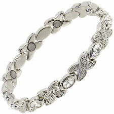 Ladies Sisto-X Magnetic Therapy Bracelet Silver Colour Clear Faux Gem Gift Boxed